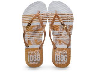 Chinelo Feminino Coca-cola Shoes Cc2703 Branco/ouro - Tamanho Médio