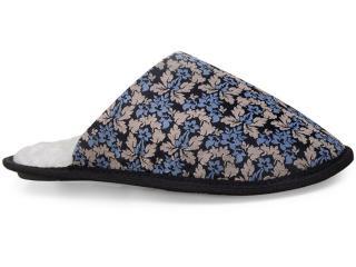 Chinelo Feminino di lã 01 Azul/bege/preto - Tamanho Médio