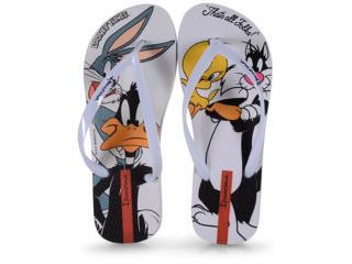 Chinelo Feminino Grendene 26433 20790 Ipanema Looney Tunes Branco - Tamanho Médio