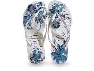 Chinelo Feminino Havaianas Slim Organic Branco Bright Silver - Tamanho Médio