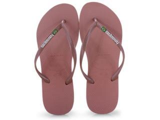 Chinelo Feminino Havaianas Slim Brasil Nude/rosa - Tamanho Médio