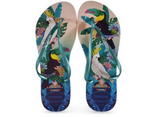 Chinelo Feminino Havaianas Slim Tropical Bege Palha/verde - Tamanho Médio