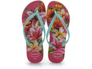 Chinelo Feminino Havaianas Slim Animals Floral Rosa Hollywood - Tamanho Médio