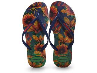 Chinelo Feminino Havaianas Slim Floral Marinho - Tamanho Médio