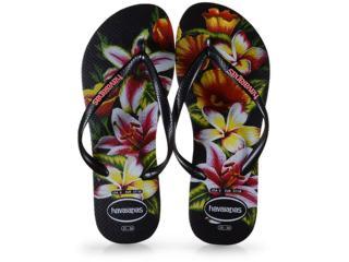Chinelo Feminino Havaianas Slim Floral fc Preto - Tamanho Médio