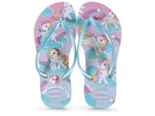Chinelo Fem Infantil Havaianas Kids Slim my Little Pony Branco - Tamanho Médio