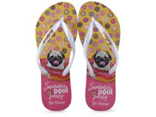 Chinelo Feminino Rafitthy 110.91701 be Forever Pug Summer Pool Branco - Tamanho Médio