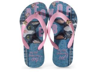 Chinelo Feminino Rafitthy 118.01701 Cat Dog Jeans Rosa/azul - Tamanho Médio