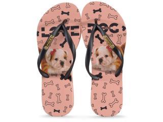 Chinelo Feminino Rafitthy 110.01702 Bulldog Love Dog Preto - Tamanho Médio