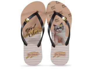 Chinelo Feminino Rafitthy 110.01701 Cat Good Vibes Preto/nude - Tamanho Médio