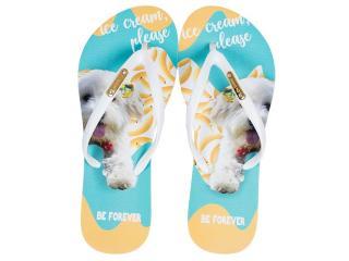 Chinelo Feminino Rafitthy 110.11702a Dog Ice Cream Azul/branco - Tamanho Médio