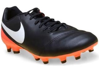 Chuteira Masculina Nike 819213-018 Tiempo Genio Leather ii  Preto/laranja - Tamanho Médio