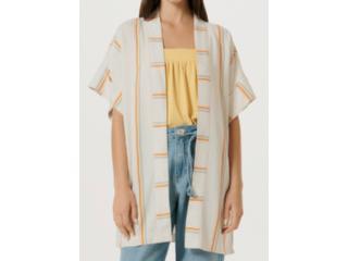 Kimono Feminino Hering H884 1aen Listrado Bege - Tamanho Médio