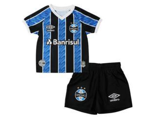 Camiseta/ Bermuda Uni Infantil Grêmio 3g270094 Kit Infantil Of.1 2020 Tricolor - Tamanho Médio