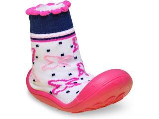 Meia C/sola Fem Infantil Klin 829.091 Branco/pink - Tamanho Médio