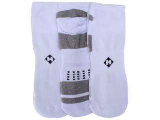 Meia Masculina Hoahi Hmc18006b Kit C/3 Branco/cinza - Tamanho Médio
