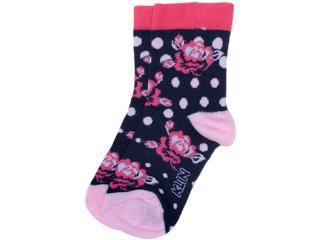 Meia Fem Infantil Klin 005.517 Marinho/pink/rosa - Tamanho Médio