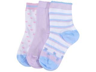 Meia Fem Infantil Lupo 2678 089 0929 Kit C/3 Branco Color/lilas - Tamanho Médio