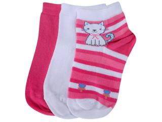 Meia Fem Infantil Lupo 02678 089 0941 Kit C/3 Pink/branco - Tamanho Médio