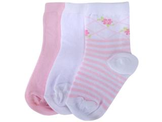 Meia Fem Infantil Lupo 02678 089 0936 Kit C/3 Rosa/branco - Tamanho Médio