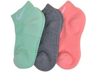 Meia Feminina Nike Sx4731-904 Cotton Cushion no Show  Verde/grafite/rosa - Tamanho Médio