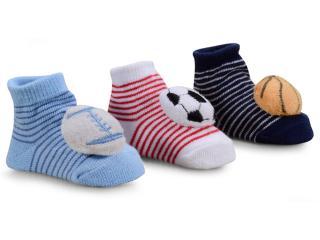 Meia Masc Infantil Pimpolho 8425 Branco/azul/marinho - Tamanho Médio