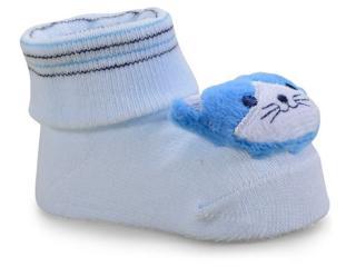 Meia Masc Infantil Pimpolho 7494 Gato Azul Claro - Tamanho Médio