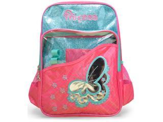 Mochila Fem Infantil Luxcel Is31721ps Pink/verde - Tamanho Médio