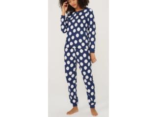 Pijama Feminina Hering 7cfy 1aen Marinho Poa - Tamanho Médio
