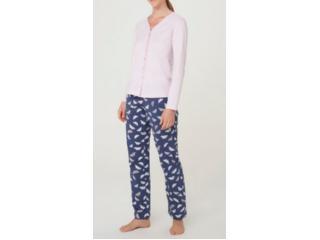 Pijama Feminina Hering 7cb7 Xlien Marinho/rosa - Tamanho Médio