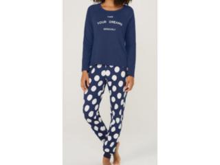Pijama Feminina Hering 7byn 1den Marinho/branco - Tamanho Médio