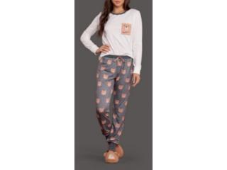 Pijama Feminina Lua Lua 120175 Off White/cinza - Tamanho Médio