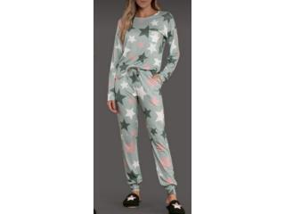Pijama Feminina Lua Lua 480175 Verde Estampado - Tamanho Médio