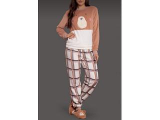 Pijama Feminina Lua Lua 120275 Marrom/off White - Tamanho Médio
