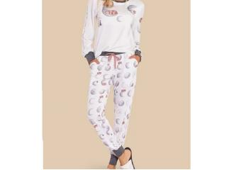 Pijama Feminina Lua Lua 420175 Branco/mescla - Tamanho Médio