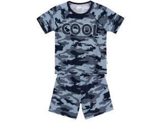 Pijama Masc Infantil Puc 26r9 1cen Azul Camuflado - Tamanho Médio