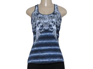 Regata Feminina Zinco 102938 Azul/branco - Tamanho Médio
