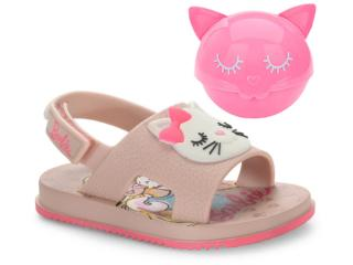 Sandália Feminina Grendene 22150 21819 Barbie Fashion Cat Rosa/branco - Tamanho Médio