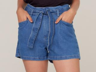 Short Feminino Dzarm Zc4m 1asn Jeans Escuro - Tamanho Médio