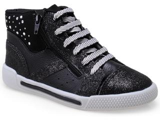 Sneaker Fem Infantil Bibi 777033 Preto/gliter - Tamanho Médio