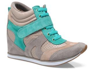 Sneaker Feminino Via Marte 13-17204 Taupe/nude/esmeralda - Tamanho Médio