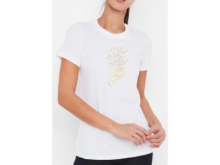 T-shirt Feminino Nike Cd7427-100 w Nsw Tee Stmt Shine Branco/dourado - Tamanho Médio