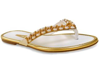 Tamanco Feminino Addan Mulher 668 Branco/ouro - Tamanho Médio