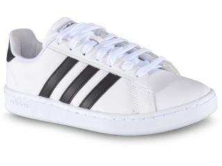Tênis Masculino Adidas Ew0556 Grand Court  Branco/preto - Tamanho Médio