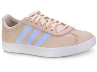 Tênis Feminino Adidas Ee6787 vl Court 20 w Bege/azul - Tamanho Médio