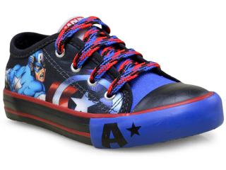 Tênis Masc Infantil Diversao Mm0074 Capitão America  Preto/azul - Tamanho Médio