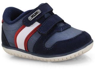 Tênis Masc Infantil Klin 166.111 Jeans/marinho/vermelho - Tamanho Médio