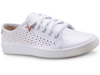 Tênis Feminino Moleca 5657104 Branco/rosa - Tamanho Médio