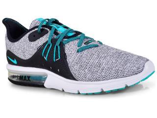 Tênis Masculino Nike 921694-100 Air Max Sequent 3 Cinza/verde - Tamanho Médio