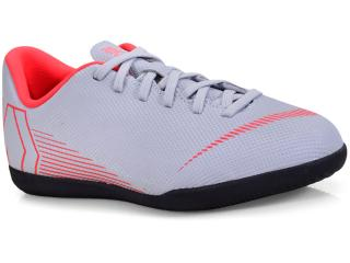Tênis Masc Infantil Nike Ah7354-060 Mercurial jr Vapor 12 Club Cinza/vermelho - Tamanho Médio